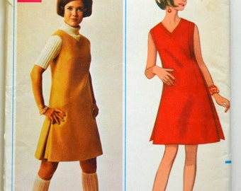Uncut 1960s Butterick Vintage Sewing Pattern 4719, Size 12; One-Piece Dress or Jumper