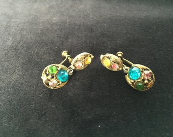 Colorful goldtone and gemstone earrings