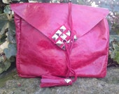 Handmade Red Leather Studded Tassel BohoFestivalVintage Style Clutch Bag Handmade From 100 Recycled Materials