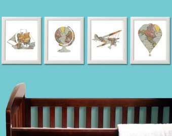 Nursery Decor - Travel Theme Nursery - Baby Shower - Vintage Map Prints - Nursery Wall Art - Hot Air Balloon Nursery - Globe Boat Airplane