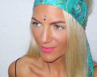 Bohemian Green Tie Dye Hippy Wide Hair Head Band Scarf Bow Tie