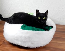 Cat bean bag bed fluffy colroful synthetic fur bed for your cat royal bed for your pets gift filled with bean filling with non slip material