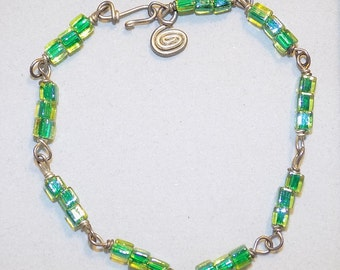 Handcrafted Green Glass Bead Braclet