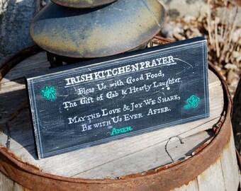 Irish Kitchen Prayer, 12 x 5.5 x 1, Irish Decor, St. Patrick's Day, Irish Prayer, Prayer Sign, No Vinyl, Hand Painted in MN, ORDER TODAY!