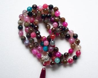 108 Bead Mala Necklace - Multi-colored Agate