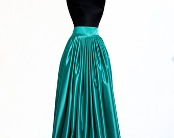 Teal blue satin skirt Prom skirt Bridal gown Flowing wedding skirt Bridesmaid's skirt Formal Full maxi skirt Pleated skirt Custom made Shine