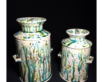 1960s Ceramic Kitchen Canister Set, Hand Painted, Green, Brown, Yellow, Turquoise Drip Design