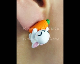 Earrings Playful Bunny- Rabbit with Carrot