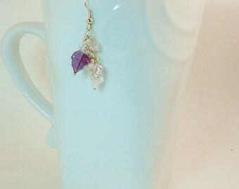 Silver and Purple Dangling Flower Earrings with Leaf