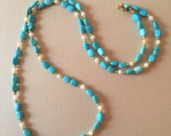Turquoise Beaded Long Necklace