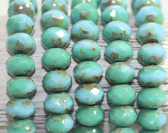 Czech Glass Rondells, 8x6mm, 25 Beads