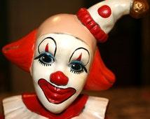 Ceramic Clown Sitting on a Stool//Hand Made Clown//Hand Painted Clown//Vintage Clown on Stool