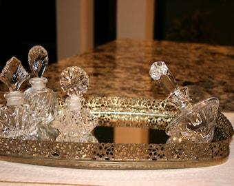 Filigree Gold Tone Vanity Mirrored Tray//Ornamental Mirrored Tray//Vintage Filigree Vanity Mirrored Tray