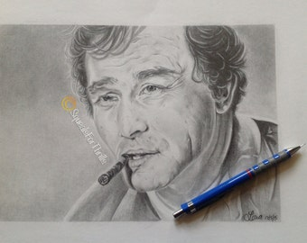 Commissioned Drawing-Detailed Pencil Sketch-From Photograph-Columbo