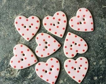 8 Heart Shaped Ceramic Buttons , Handmade Buttons, Pink Dotty Buttons, Wedding Favours, polka dot buttons.