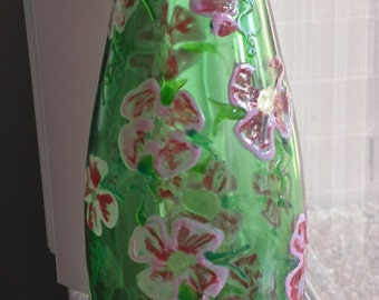Recycled Stained Glass Pink Flower Vase
