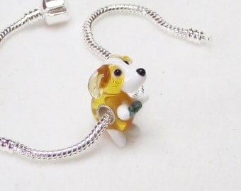 Little Yellow Puppy Dog Lampwork Glass 925 Sterling Silver Bead for European Charm Necklaces