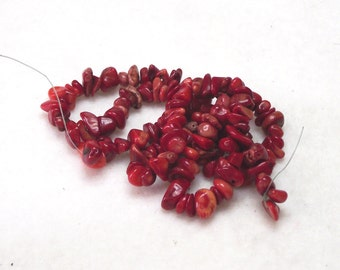 "16"" Strand Natural Red Sea Coral Beads 4mm x 8mm With 1mm Hole"