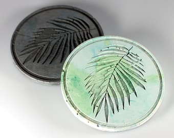 Palm Leaf Coaster, Set of 2 coaster made oc concrete, grey