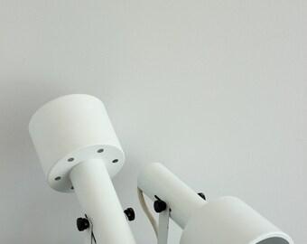 Vintage White Minimalist Metal Spotlight Sconces, Set of 2, Pair, Industrial, Mod