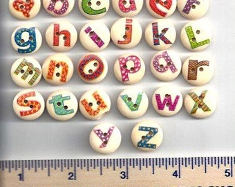 Wooden Round ALPHABET BUTTONS  - LETTERS on Wood Buttons  - 2 Hole Flat (no shank) - Sew Through - Painted