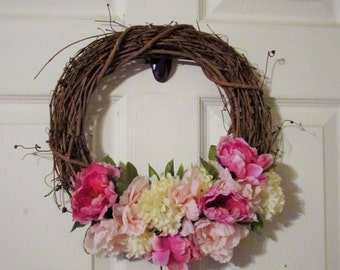 Miniature Wreath- Home decor, Peonies, Grapevine wreath, Mini, Pink.