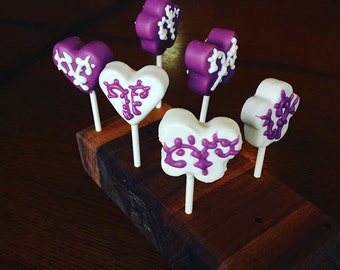 GLUTEN FREE Cake Pops Gourmet Bridal Shower/Wedding Favors Solid Color CakePops with Scroll Flourish
