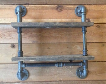 Industrial Pipe Shelf- Double Decker-Rustic Shelf-Industrial Pipe- Pipe Shelf