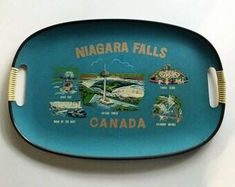 50's Era Niagara Falls Tray//Vintage Souvenir Platter//Turquoise
