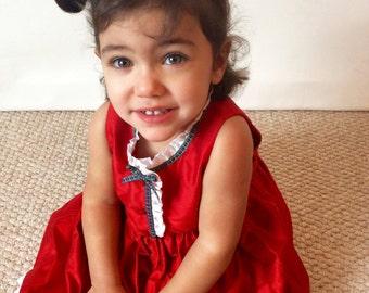 Red Silk Party Dress. White Silk Frill. Tartan Trim. Baby Girl
