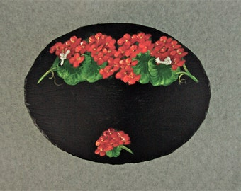 Painted Oval Slate - Red Geraniums *Personalized No Charge*