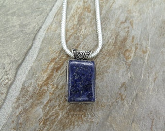 Antique Lapis Lazuli Sterling Silver Pendant and Chain