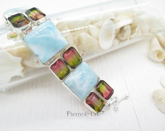 Larimar and Tourmaline Quartz Sterling Silver Bracelet