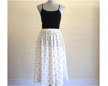 Vintage white midi skirt with black diamonds - black and white midi skirt - pockets