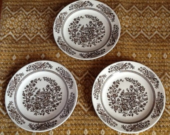 Set of Three Brown Floral Plates