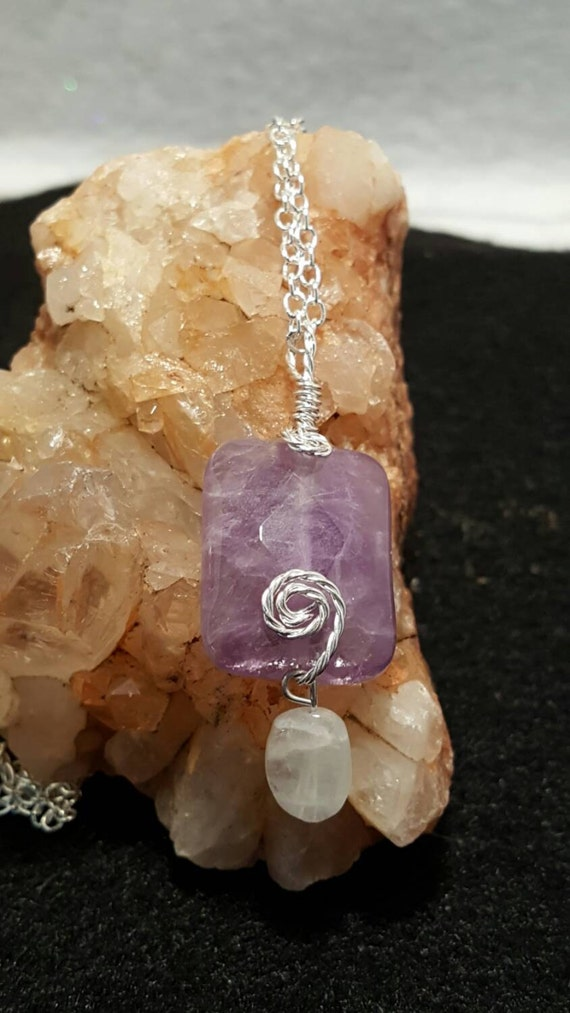 """Solstice Strawberry Moon blessed Amethyst with Moonstone drop 22"""" necklace"""