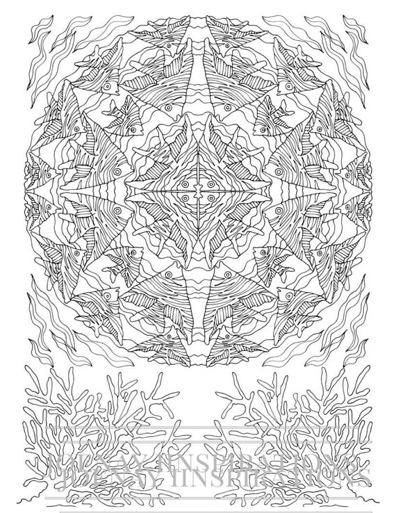 Adult Coloring Book, Printable Coloring Pages, Coloring Pages, Coloring Book for Adults, Instant Download, Treasures of the Ocean 2 page 1