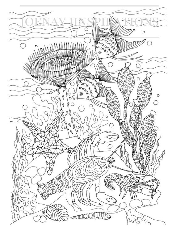Adult Coloring Book, Printable Coloring Pages, Coloring Pages, Coloring Book for Adults, Instant Download, Treasures of the Ocean 2 page 7