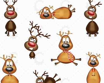 8 Christmas Reindeers - Clipart Collection