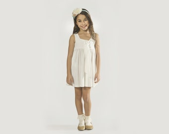 "Girls White Dress in Sizes 2 to 11 Years -- The ""Tie"" Dress in Alabaster"