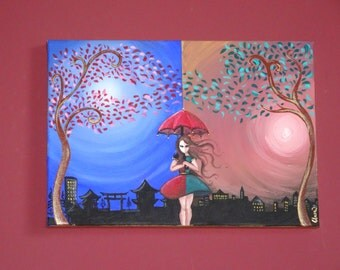 "Painting on canvas ""Far East and near West"" Paint on Canvas-acrylic painting"