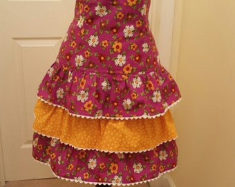 Fun and Festive Floral Print Ruffled Cooking or Hostess Apron