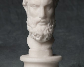 Philosopher Epicurus bust carved MARBLE statue artist sculpture