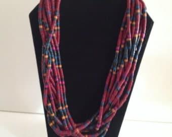 Wood Bead Multi-Strand Necklace; Burgundy, Black, Blue, Purple and Orange