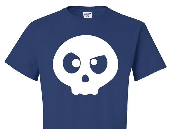Angry Skull Logo, Original Art T-Shirt, Cartoon Skull tshirt, Royal blue skull tee, Day of the Dead Skull shirt, Halloween gift, candy skull
