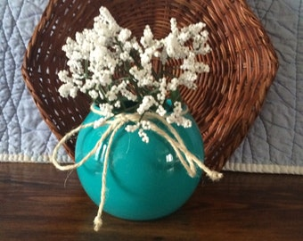 Glass vase, deep turquoise, twine trim, waterproof for fresh flowers