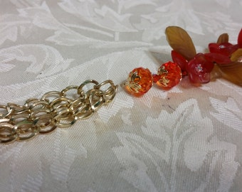 Fall Flower Bracelet w? Gold Chains