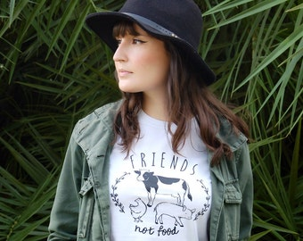 Friends Not Food, vegan tshirt, vegetarian tshirt, vegan shirt, vegetarian shirt, animal rights, tee, animal lover