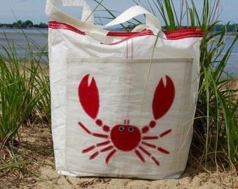 Red Crab - Medium Recycled Sail Bag - The Weekender Bag