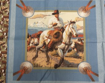 Western Cowboy Cattle Drive Fabric Panel